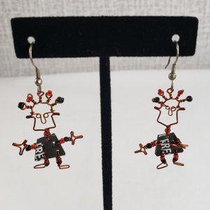 Jewelry - Funky Artisan Little Man Wire & Bead Earrings